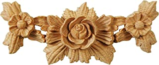 Rosette Swag. Victorian Style Furniture Onlay. Each Piece Individually Hand Carved by Our Master Craftsman in Solid Natural Pinewood. Supplied as One Piece. 3¾ in high x 9 in wide x 1¼ in thick