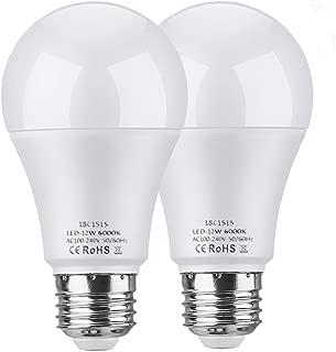 LEKE Dusk to Dawn Light Bulbs 12W E26 Light Sensor Bulb 6000K 100W Equivalent Incandescent Light Auto On/Off,Fit Outdoor, Home, Front Porch Light, Yard Light, Garage Light, White (2 Pack)