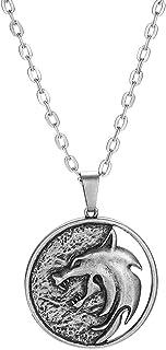 قلادة هانرسي بميدالية صيد برية قلادة ساحرة للنساء والرجال مجوهرات الشرير قلادة بسلسلة ذئب معدن ساحر كوزبلاي