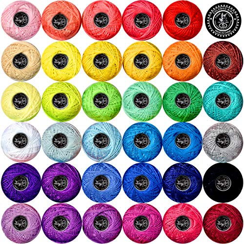 Crochet Thread Cotton Yarn Threads Balls 35 Balls Popular Rainbow Colors of Size 5 Crochet Thread 100% Long Staple Cotton Mercerized Cotton