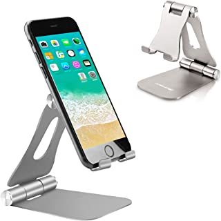 [Updated Adjustable & Foldable] Desktop Cell Phone Stands Cell Phone Holder Tablet Stand, Advanced Universal Aluminum Stand Holder for Mobile Phone and Tablet (Up to 13 inch) - Space Grey