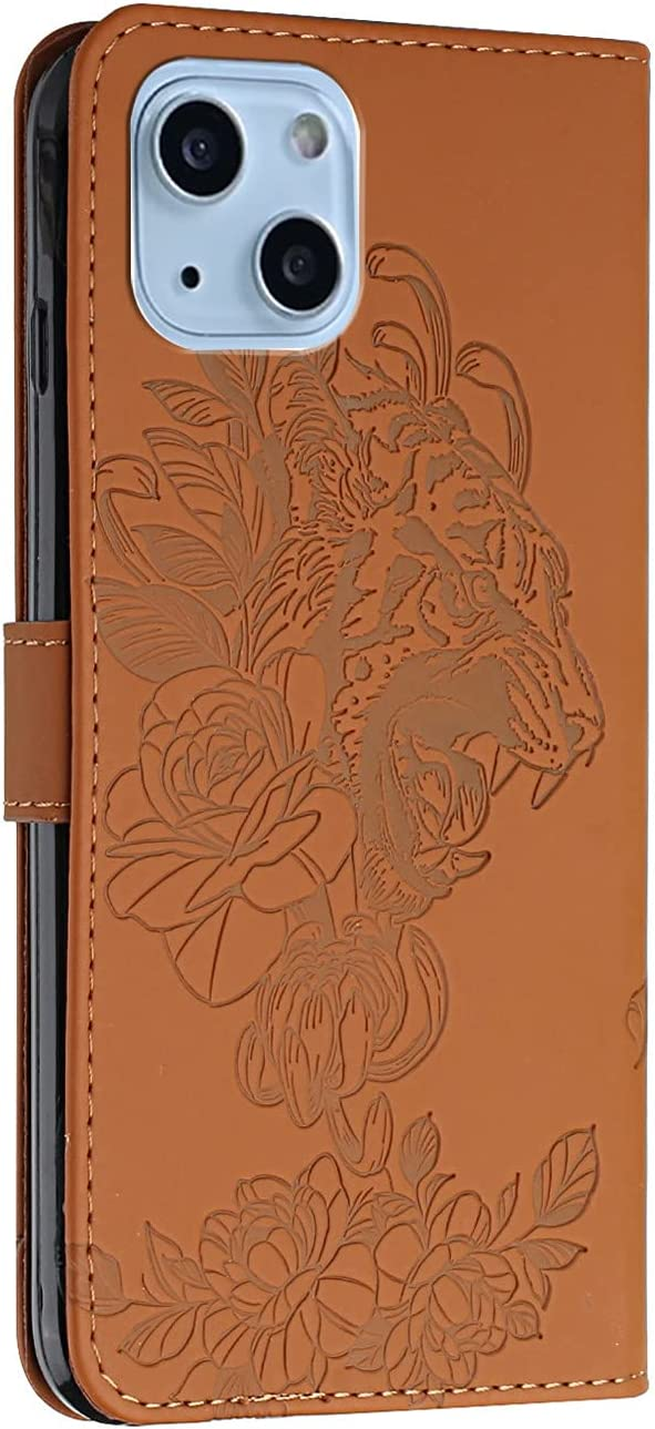 Crossbody Phone Case for iPhone 13 Mini, 2 in 1 Tiger Embossed Shockproof Slim PU Leather Wallet Phone Cover TPU Bumper Flip Protective Neck Strap Case with Lanyard, Brown
