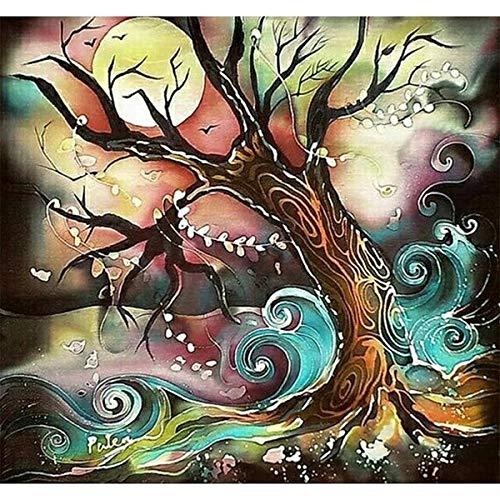 asasI9 Plaid Paint by Numbers Anfängermuster Ease Acryl abstrakte Bäume Malen nach Number Kleidung Kleidung Geschenke 40X50Cm ohne Rahmen