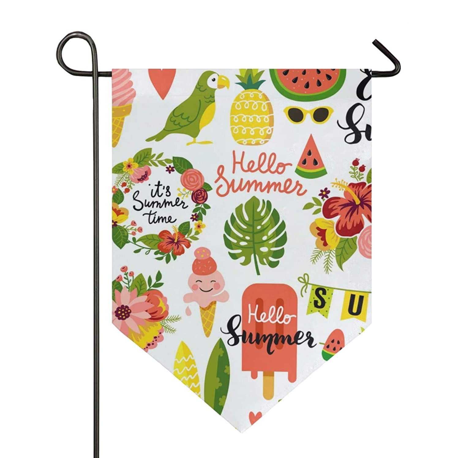 House Flag Summer Tropical Bird Toucan Food Garden Flag 28x40 inches Double Sided Decorative Yard Flag for Home Decor Outdoors