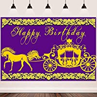HD Happy Birthday Backdrop FHZON 10x7ft Ancient Carriage Background Purple Romantic Background for Photography Wedding Theme Party YouTube Backdrops Props 369