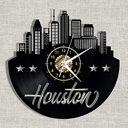 GodyGT Reloj de pared de vinilo Space City-Houston – Retro Atmosphere Silhouette Record hecho a mano regalo fresco decoración del hogar con LED de 30,48 cm