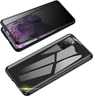 Jonwelsy Anti Spy Handyhülle für Samsung Galaxy S20 FE, 360 Grad Schutz Case, Privatsphäre Gehärtetes Glas Anti Spähen Cover, Stark Magnetische Adsorption Metallrahmen Hülle für S20FE (Schwarz)