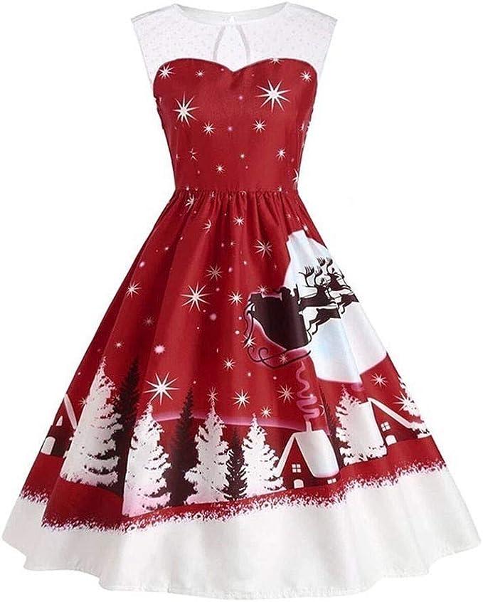 Firss Frauen Kleid Spitze Weihnachtskleid Armellos Elegante Festlich Mini Cocktailkleid Christmas Dress Vintage Weihnachten Festlicher Abendkleider Amazon De Bekleidung