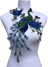 Fabric Sequin Peacock Flower Lace Sewing Applique Lace Collar Neckline Collar Applique DIY Clothing Accessory Scrapbooking (Blue)