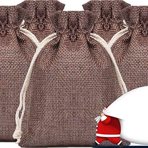 24 pcs Navidad bolsa tela de saco 10 * 14cm bolsitas para regalos boda de fiesta bolsa cuerdas para Joyas regalos para tu novia novios originales para chuches cumpleaños detalles boda para invitados