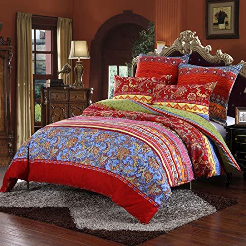 Omela Bettwäsche Set 135x200 Bohemian Boho Style Bettbezug Rot Blumen Muster Indisch Ethnisch Bettdeckenbezug mit Kissenbezug 80x80 cm aus Weich und Angenehm Mikrofaser