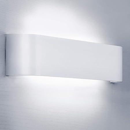Lightess Applique Murale Interieur LED 12W Blanc Froid 6000K Lampe Murale Aluminium Luminaire Mural Moderne pour Chambre Salon Couloir Escalier Hôtel Hall d'Entrée Enfant