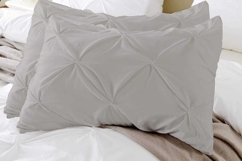 Bed Alter Fundas de Almohada con Pizca Plisada Hecho de algodón 100% Egipcio con 400 número de Hilos Ropa de Cama súper Suave de la Clase del Hotel (Juego de 2) Plata Rey de Oxford