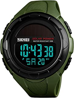 TONSHEN Unisex Large Dial Multifunction Outdoor Military Digital Sport Solar Watch LED Electronic Alarm Stopwatch 50M Waterproof Watches for Men and Women Plastic Case with Rubber Band (Green) …