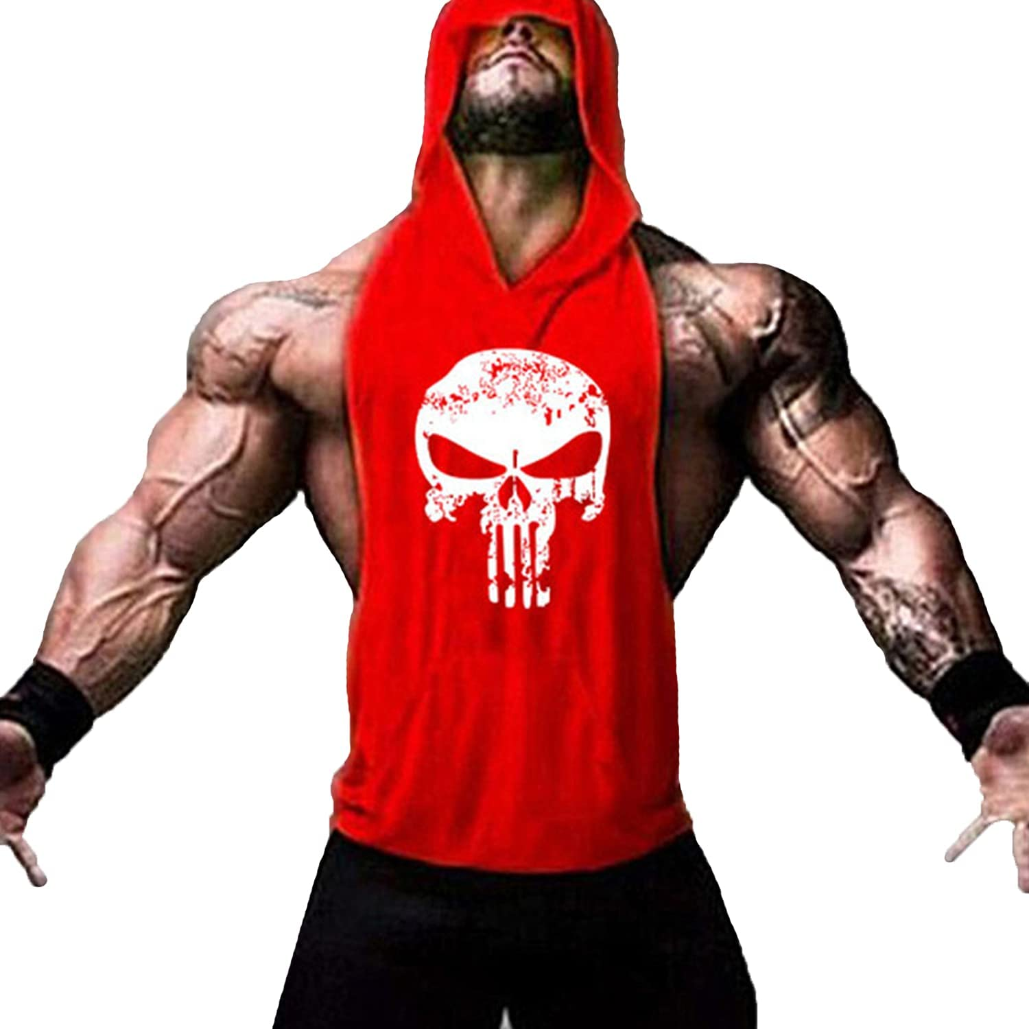 Men's Skull Print Sleeveless Fitness Hooded Muscle We OFFer at cheap prices Recommendation Gym Shir Vest