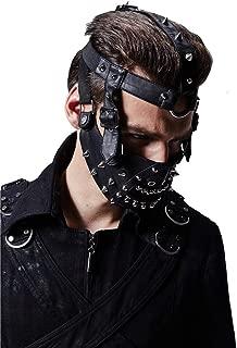 Gothic Wrapped Rivets Mask Men Black Leather Coll Motorcycle Biker Masks