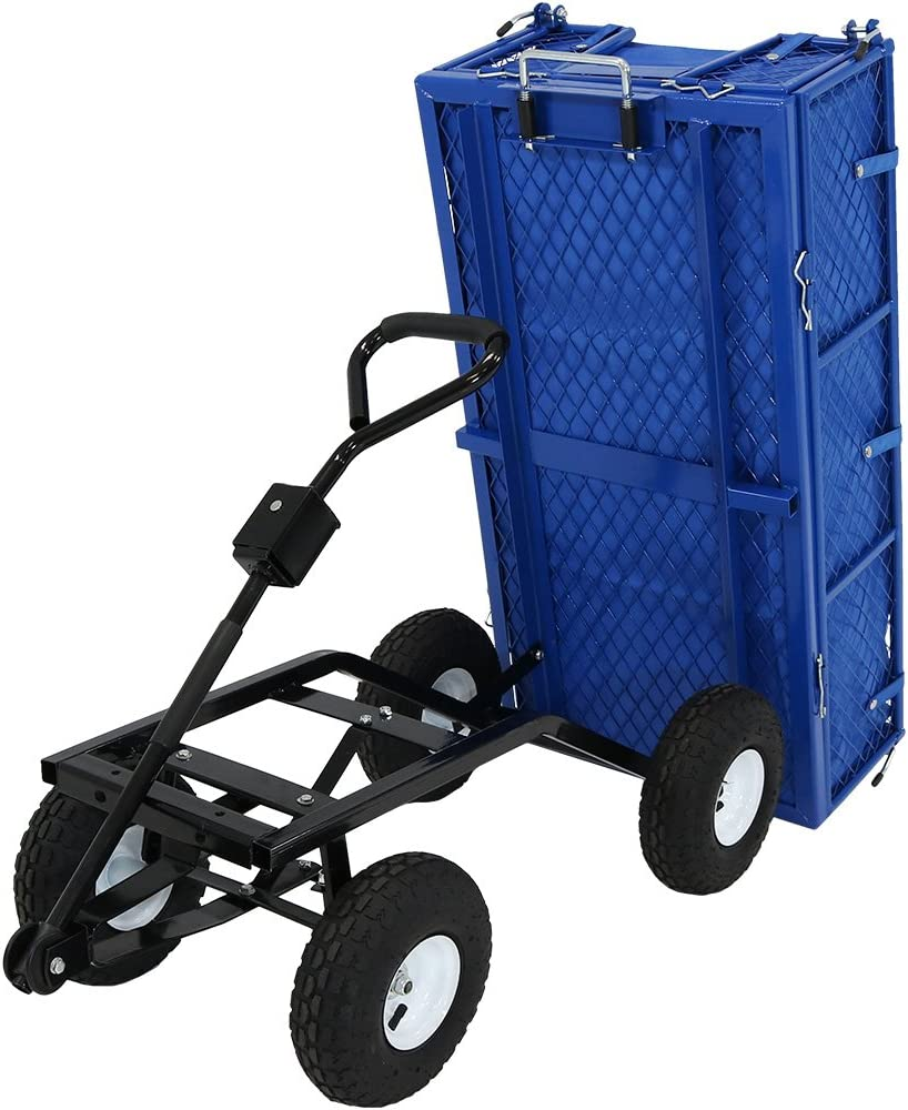 Sunnydaze Utility Steel Dump Garden Cart with Liner Set, Outdoor Lawn Wagon with Removable Sides, Heavy-Duty 660 Pound Capacity, Blue