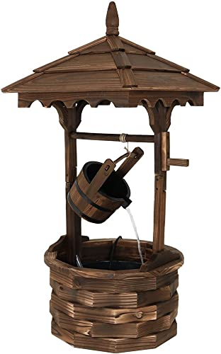 discount Sunnydaze Old-Fashioned Wooden Wishing new arrival Well Water Fountain - Outdoor wholesale Garden Fountain Waterfall Feature - 48 Inch Tall outlet sale