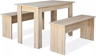 Tisch mit 2 Bänken Essgruppe Tischgruppe Sitzgruppe Esszimmergarnitur Tisch Set