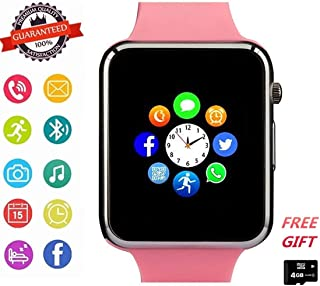 Hocent Smart Watch, Smartwatch with SD Card Camera Pedometer Phone Call Text SNS SMS Sync SIM Card Slot Music Player Alarm Compatible with Android and iPhone (Partial Functions) for Women Girls Teens