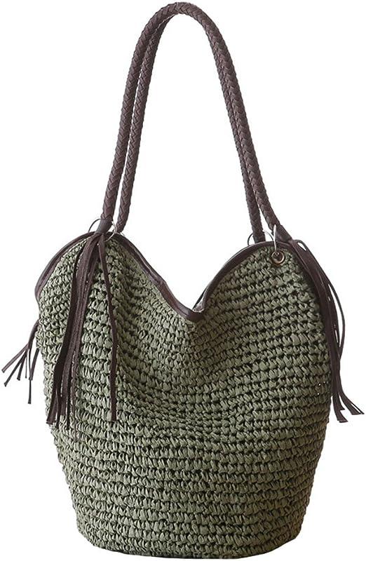 Damen-Handtasche mit Griff oben YAKEFJ Stroh-Crossbody-Handtaschen Sommer-//Strand-Handtasche