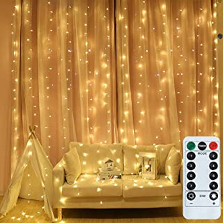 Findyouled Fairy Curtain Lights, USB Powered 300 LED Curtain String Light 8 Modes with Remote for Bedroom Party Wedding De...