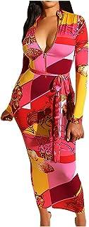 KAIXLIONLY Women's Deep V-Neck Boho Bodycon Dress Sexy Print Prom Gown Elegant Evening Party Maxi Dress