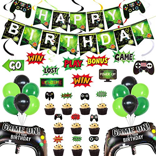 Rainmae Video Game Birthday Party Supplies-Happy Birthday Gaming Banner Welcome Hanging Sign, Game Controller Balloons Multicolor Balloons, GAME ON Themed Hanging Swirls Decorations