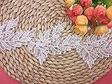 Nastro in pizzo inelastico per ricamo con motivo di foglie europee di 9,5 cm di larghezza, indumenti/accessori fai da te, copertura per tovaglia (2 yard) (bianco)
