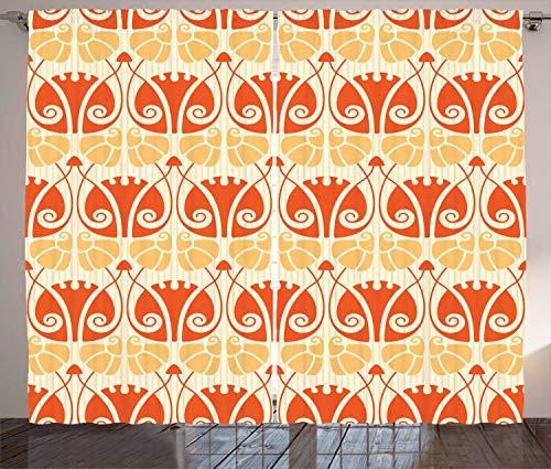 ABAKUHAUS Jugendstil Rustikaler Gardine, Moderne Mushroom, Schlafzimmer Kräuselband Vorhang mit Schlaufen und Haken, 280 x 225 cm, Orange Senf-Gelb