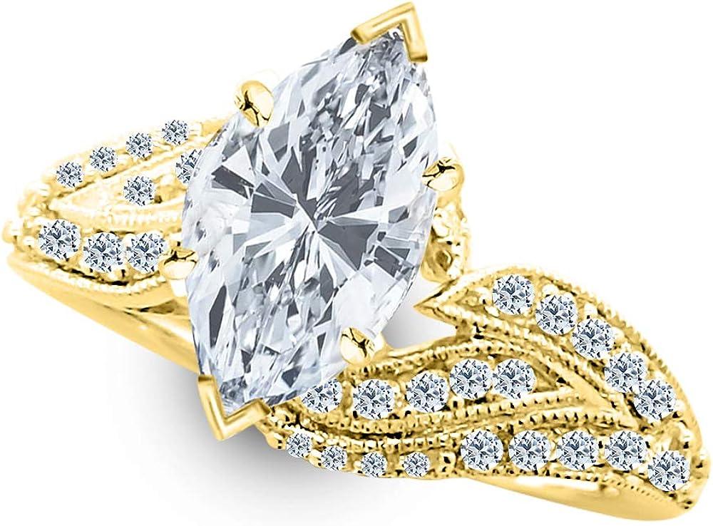 Popular brand service 2 Ctw 14K White Gold Vintage Mar IGI Certified Milgrain Twisting