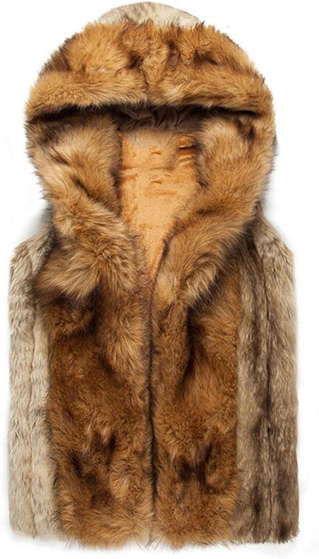 YYF Men's Faux Fur Vest Waistcoat Sleeveless Hooded Coat Jacket
