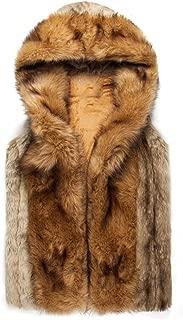 Men's Faux Fur Vest Waistcoat Sleeveless Hooded Coat Jacket