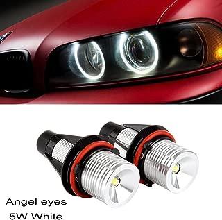Ricoy 2x 5W For BMW E39 E53 E60 E61 E64 E65 E66 E87 X3 X5 LED Angel Eye Halo Ring Marker Side Light White LED Bulb(Pack of 2)