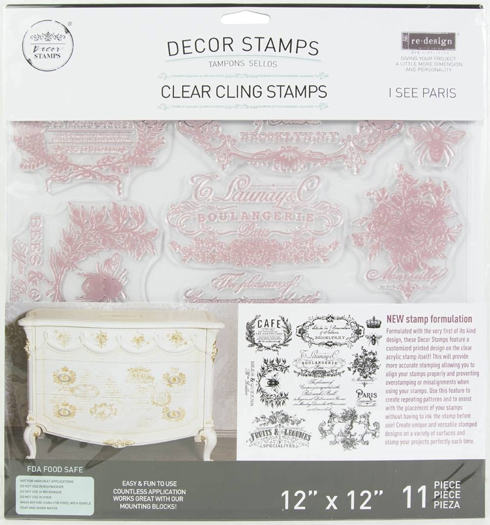 Prima Marketing Re-Design Decor Clear Cling Stamps I See Paris 1