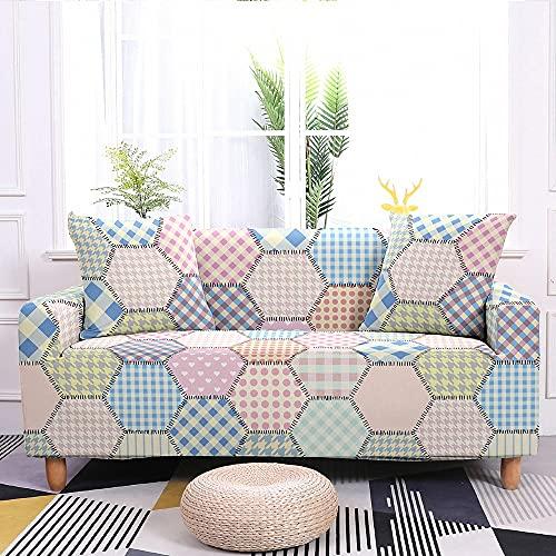 WXQY Nordic Elastischer Sofabezug für Wohnzimmer Universal All-Inclusive Stretch Couchbezug Schonbezüge Sofa Protector A3 4 Sitzer