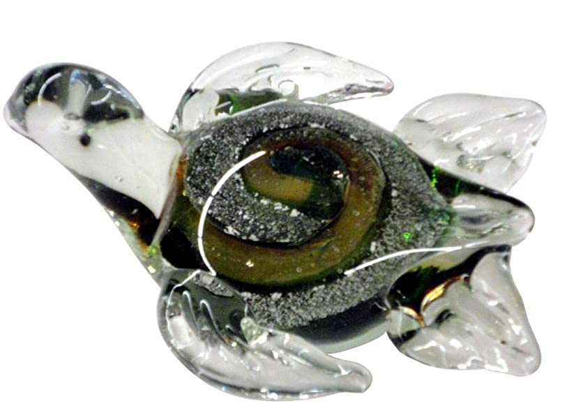 Beachcombers SS-BCS-03490 Glass Turtle with Rainbow Swirl