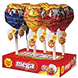 Chupa Chups Mini Mega Fruit Lollipops, 6 Mega Lollipops with 10 Pops Each, 6 Assorted Fruit Flavors, Variety Pack for Gifting, Parties, Office, 60 Count Total