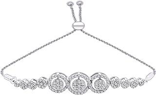 10K Gold Round Diamond Halo Cluster Bolo Bracelet For Women (0.85 Cttw, Color-J, Clarity-I2)