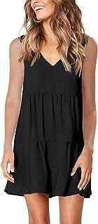 Amoretu Women's Long Sleeve Tunic Dress V Neck Loose Swing Shift Dresses