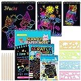 3 Kit Scratch Art Libri per Bambini, 30 Fogli Carta da Parati Graffio Arcobaleno con 6 Penna di Legno & 4 Modelli di Disegno per Giocattoli Educativi per Bambini