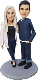 figurina amante coppia scultura faccia sculpey bambola regalo personalizzato compleanno regali speciali bambola di argilla...