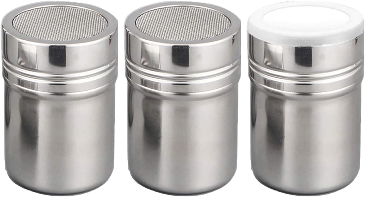 Set of 3Pcs Powder Sugar Shaker with Lid,Stainless Steel Fine Mesh Shaker, for Sifter Cocoa,Cinnamon Powder,Icing Sugar,Chocolate Coffee (Small)