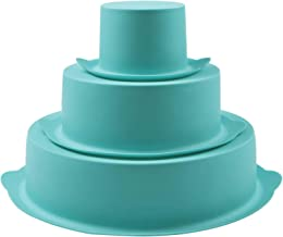 """Webake Silicone Cake Moulds Tins Round Set of 3 Tier Layer 8.6"""" 5.9"""" 3"""" Non-Stick Baking Molds Bakeware Tray for Birthday ..."""