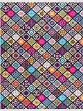 Siela Waschbarer Teppich Pflegeleicht Strapazierfähig und Schadstoffgeprüft Versch. Muster und Größen Wohnzimmerteppich Bunt(160x230cm)