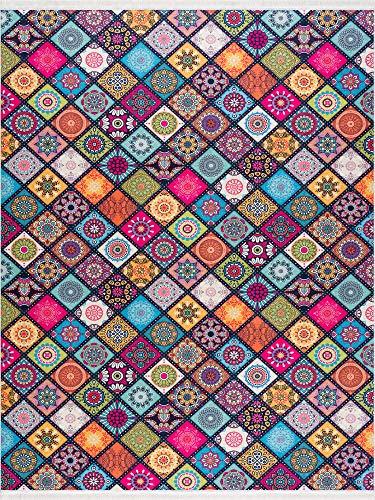 Siela Waschbarer Teppich Pflegeleicht Strapazierfähig und Schadstoffgeprüft Versch. Muster und Größen Wohnzimmerteppich Bunt(80x150cm)