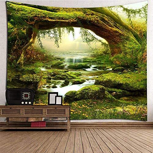LIRENSHIGE - Tapiz decorativo para colgar en la pared con diseño de mandala hindú, bosque verde, para la playa, como sábana, mantel de mesa, toalla de playa, poliéster, verde, 200x180CM