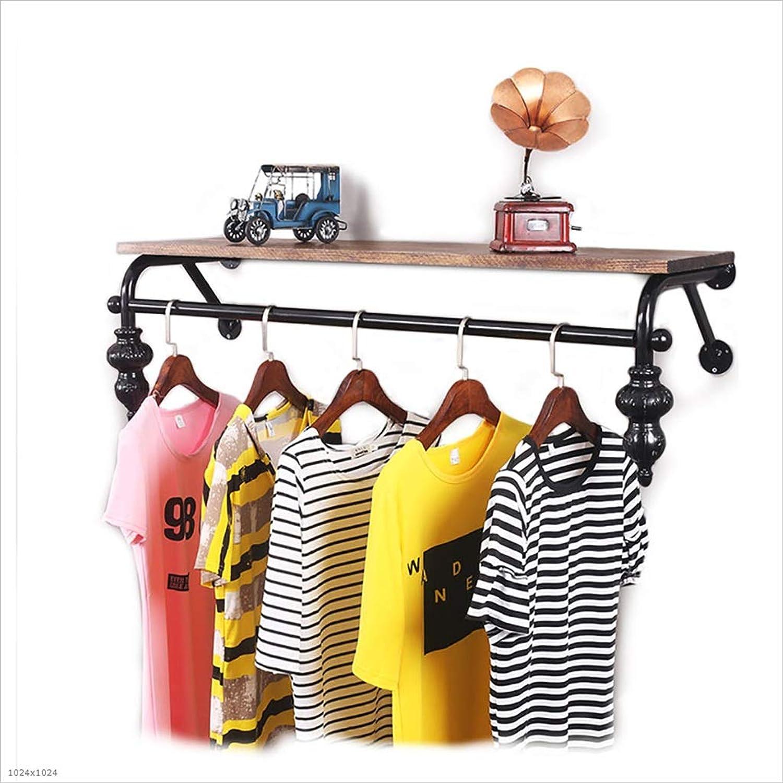 Coat Racks Clothing Store Clothing Solid Wood Display Stand Retro Iron Wall-Mounted Side-Mounted Hanging Racks Shelves Racks (Size   60  30cm)