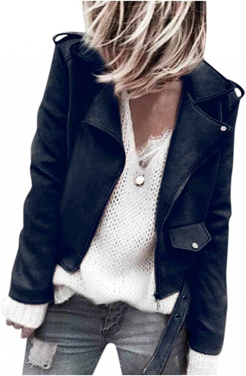 LEIYAN Faux Leather Nippon regular agency Suede Jackets for Women Sleeve Max 72% OFF Zip Long Up L