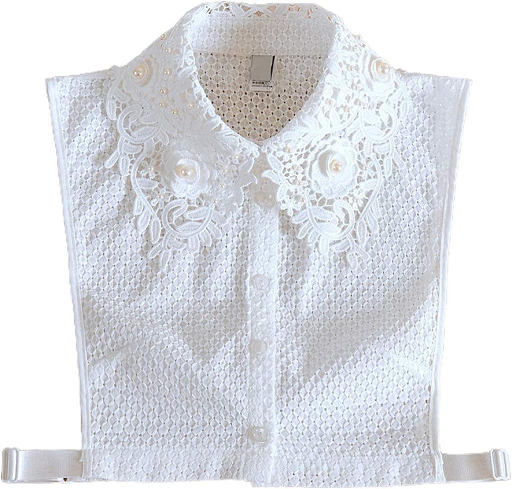 YOUSIKE Detachable Blouse, Women Elegant Faux Pearl Floral Lace Lapel False Fake Collar Plaid Jacquard Buttons Detachable Half Shirt Blouse Sweater Decorative Clothing Accessories